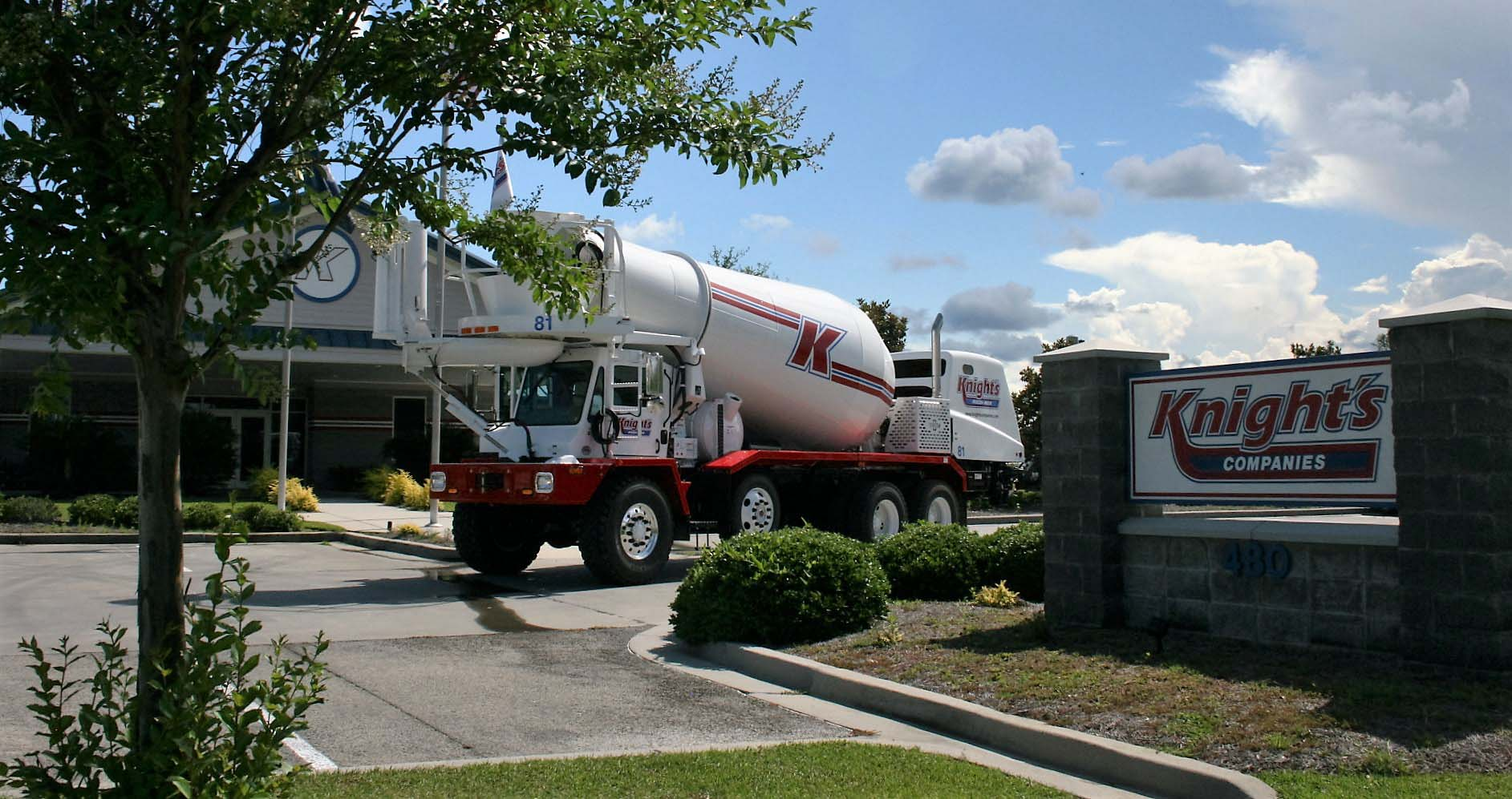 Concrete Truck in front of head office