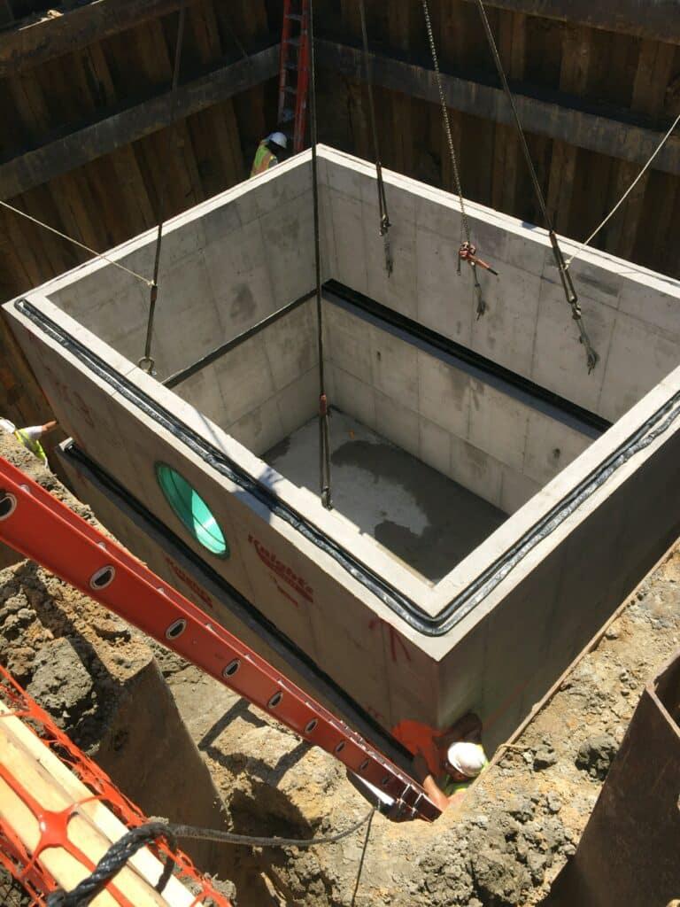 Precast Concrete Cistern being installed