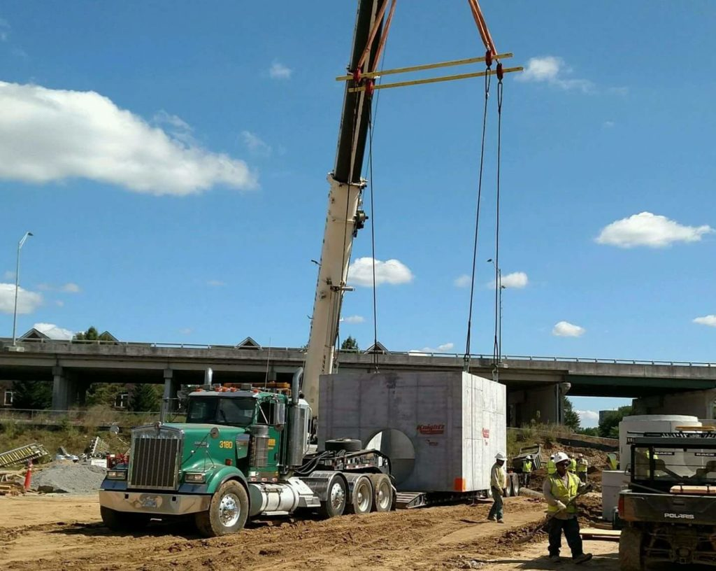 Crane with Precast Concrete Road Construction