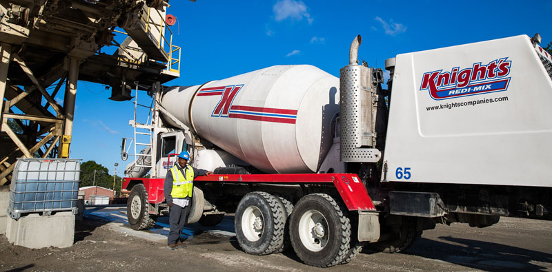 Redi-mix concrete truck loading