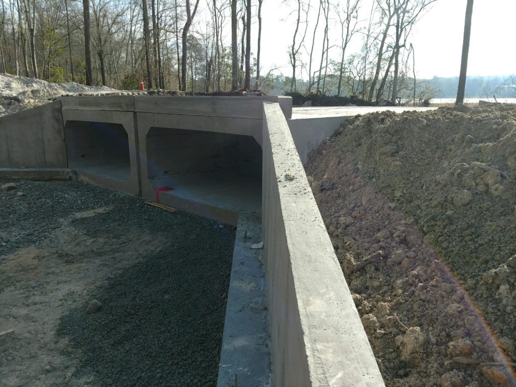 Precast Concrete Culverts installed at Langley Pond