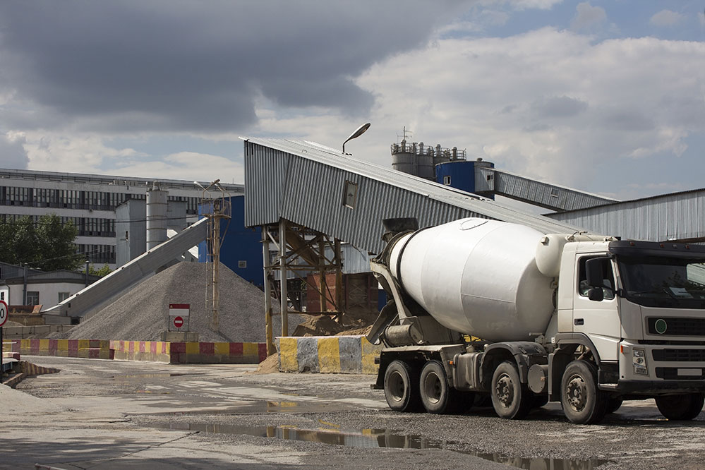 Knight's concrete truck at factory