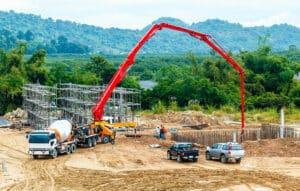 Concrete pump at job site
