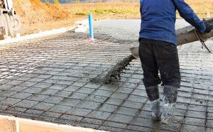 Pouring concrete around utilities