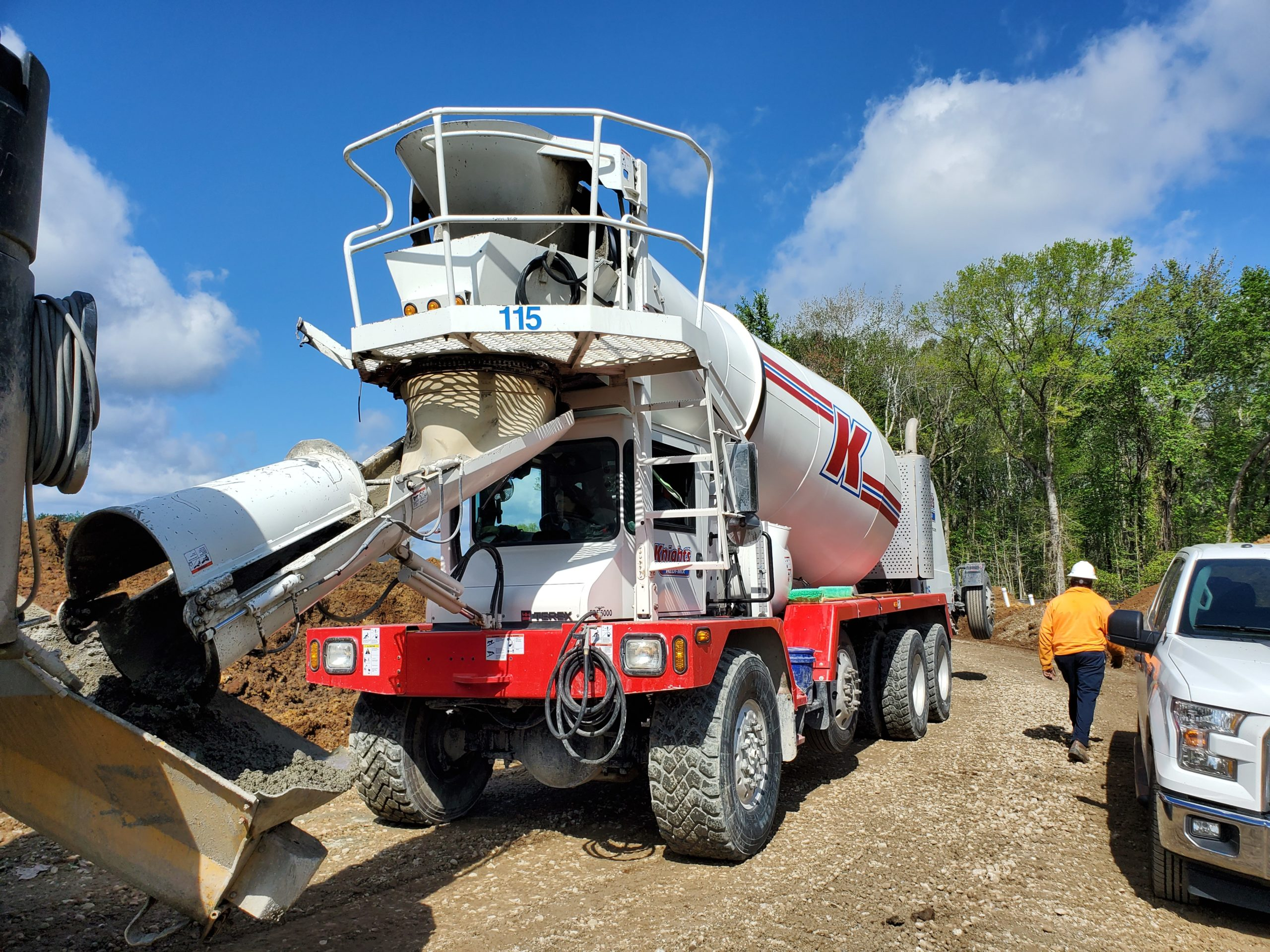 Knight's Redi-Mix truck pouring in the heat.
