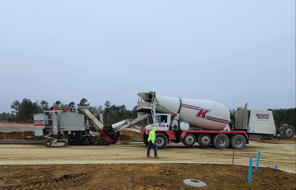 Knight's Redi-Mix supplying curb for Phase 10 of Carnes Crossroad