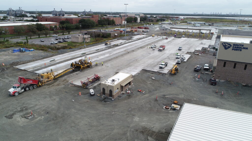 Knight's Redi-Mix and Trucking working on the paving project at the Hugh Leatherman Terminal.